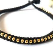 Black friendship bracelet, ball chain gold, stackables, trendy Metallic fashion, summer 2012 for her under 15