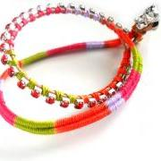 Double strand Friendship Bracelet red rhinestone chain cotton woven boho chic fashion neon spring 2012 trendy under 30