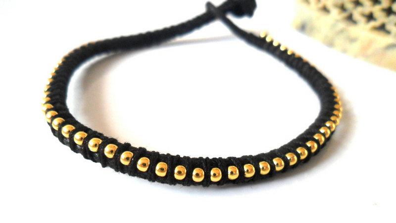 cc9a5e0d23356 Black Friendship Bracelet, Ball Chain Gold Black Bracelet Trendy Metallic  Fashion Bracelet Stack
