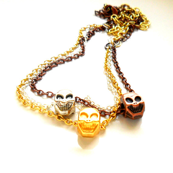 Multiple chain Necklace earring set trio dainty chain happy skull beads Fashion punk metallic Spring trend. For Her. Gift Under 25