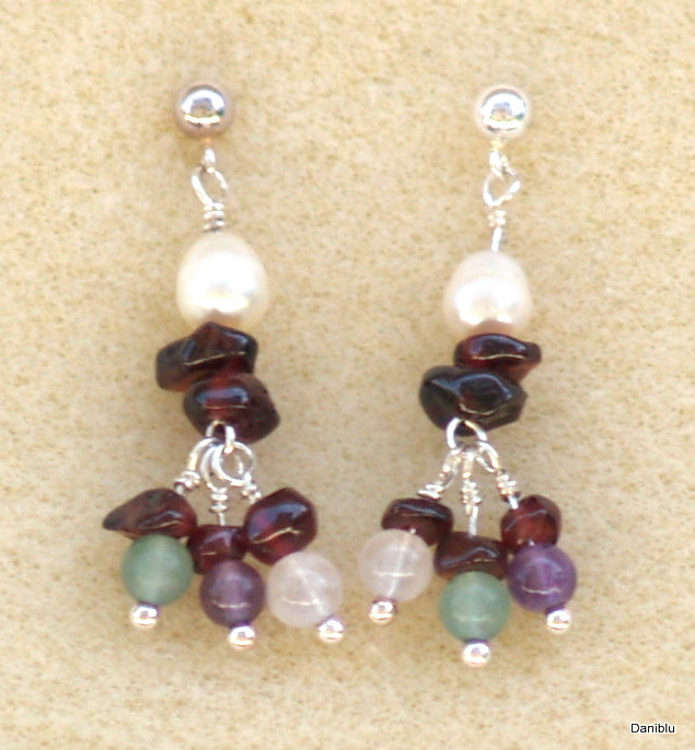 Dangle Earrings Multi Gemstones, Sterling silver, White pearls, January birthstone garnet amethyst jade cream quartz
