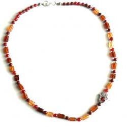 Silk knotted Necklace Hessonite red Jade Hamsa Fatima Hand beaded necklace gift for her under 50