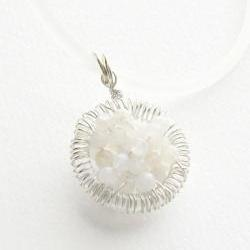 """Moonstone necklace, Sterling Silver wire wrapped pendant, """"Full of wishes"""" Fertility necklace, mother's day, gift for her under 30"""