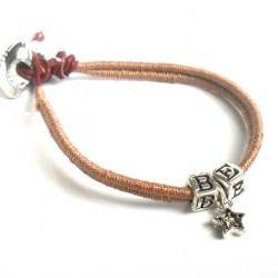Friendship Bracelet, Leather, Woven in mocha cotton thread, Sterling Silver letters, Swarovski crystal star charm, Football Fan BE A STAR